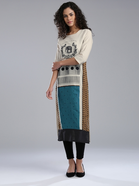 W Women Cream-Coloured & Teal Blue Printed Straight Kurta
