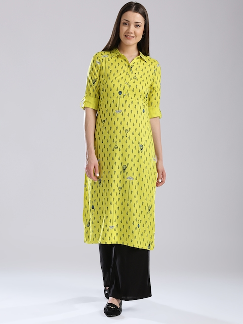 W Women Lemon Yellow Printed Pathani Kurta