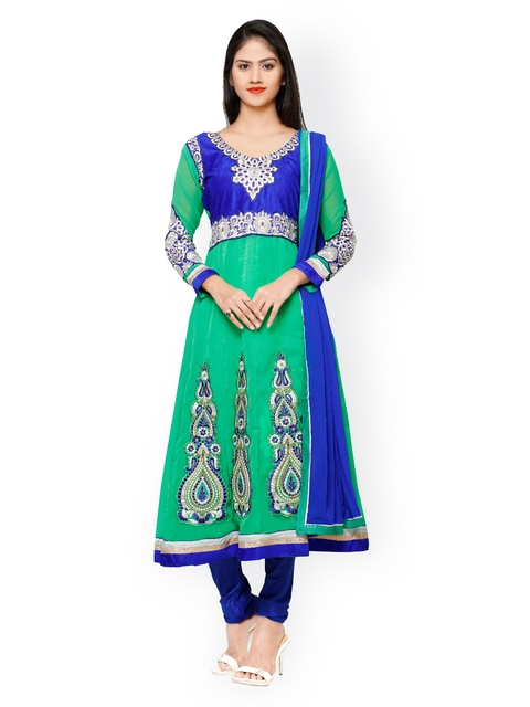 Florence Green & Blue Embroidered Georgette Unstitched Dress Material