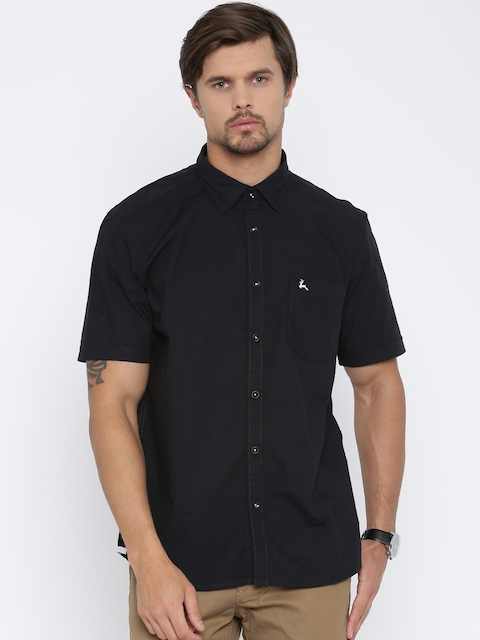 Parx Men Black Slim Fit Solid Casual Shirt