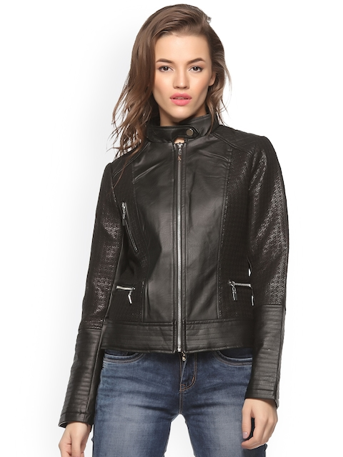 Xblues Black Textured Biker Jacket
