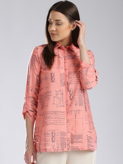 W Women Coral Pink Printed Shirt