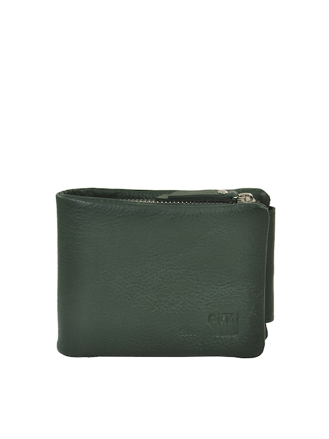 Second SKIN Men Green Genuine Leather Wallet