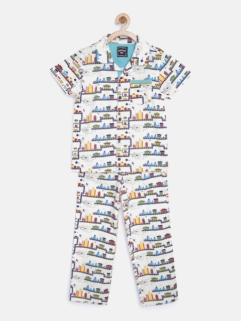 Nauti Nati Boys White Printed Nightsuit