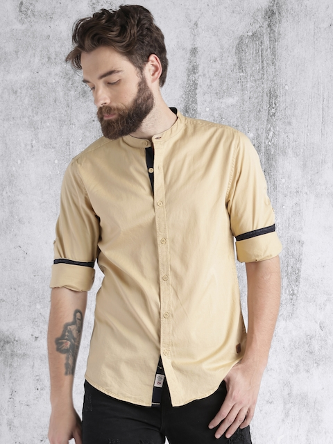 Roadster Men Beige Solid Casual Shirt