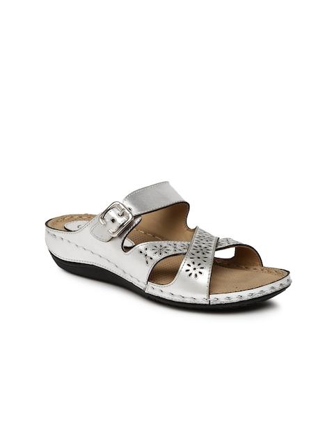 Catwalk Women Silver-Toned Laser-Cut Flatforms