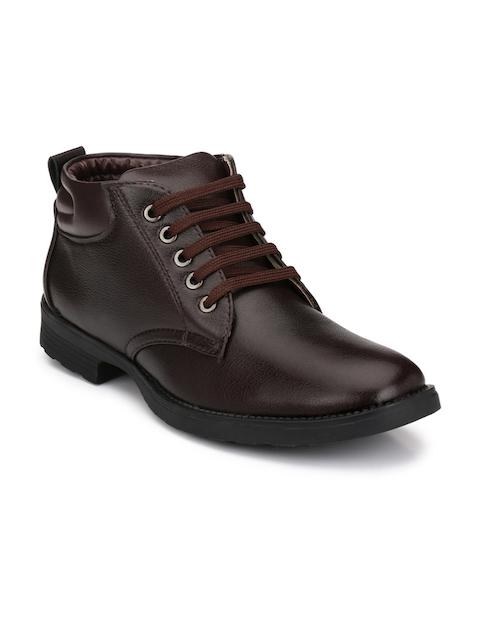 Mactree Men Brown Solid Mid-Top Flat Boots