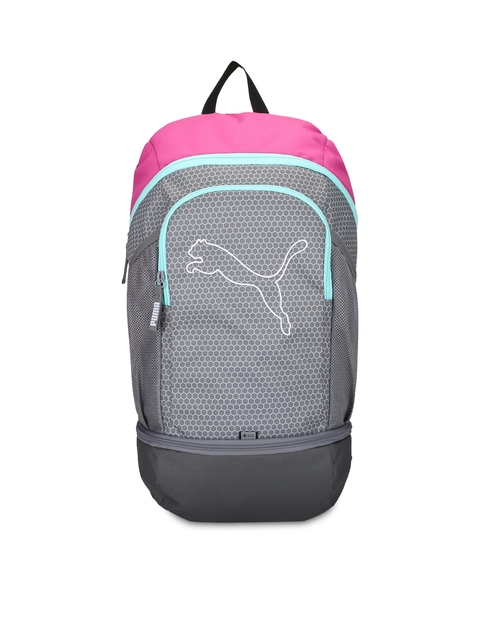 PUMA Unisex Grey & Pink Printed Backpack  available at myntra for Rs.849