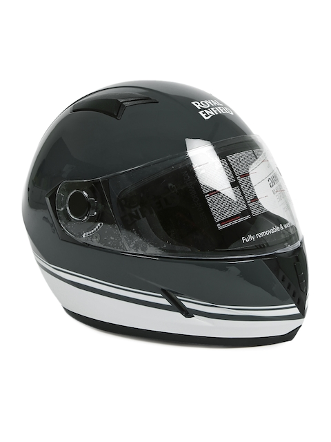 Royal Enfield Unisex Glossy Grey Street Pin Striped Full Face Helmet