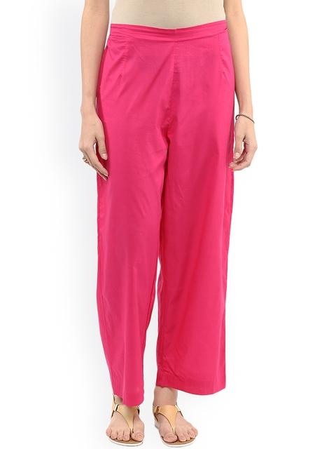 Pannkh Women Pink Straight Fit Palazzos