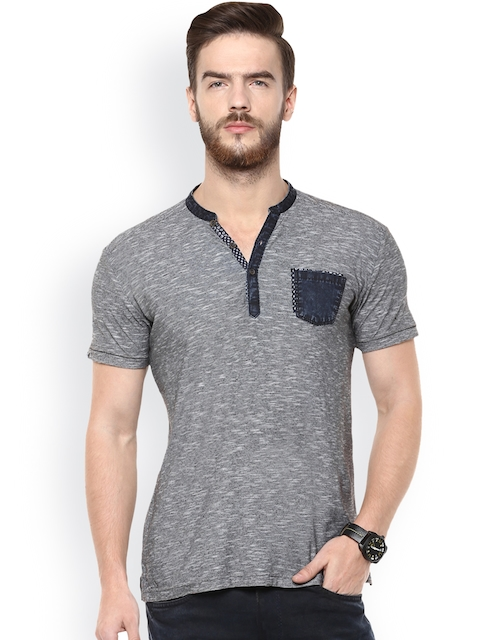Mufti Men Black & Grey Striped Slim Fit T-shirt