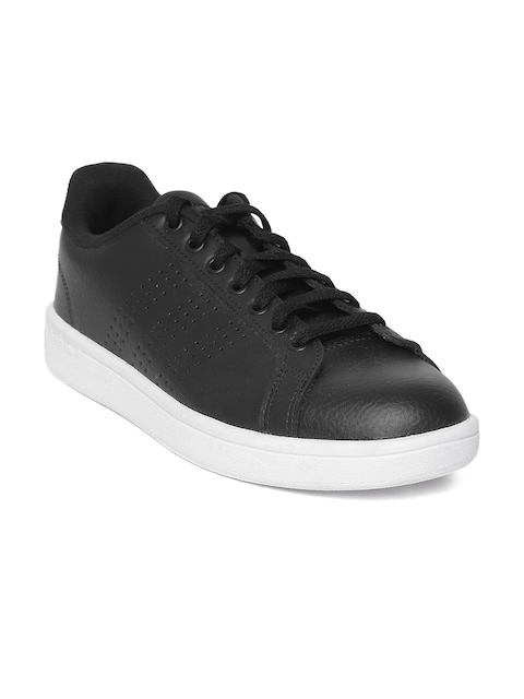 ADIDAS Men Black Cloudfoam Advantage Clean Perforated Sneakers