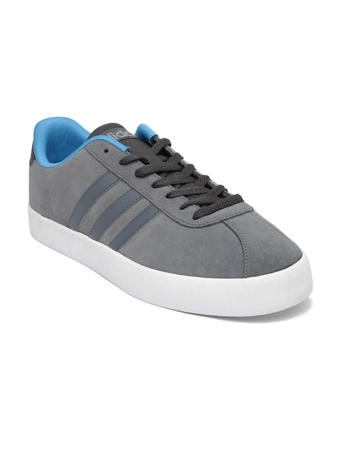 Adidas NEO Men Grey Solid Suede Leather Vlcourt Vulc Sneakers