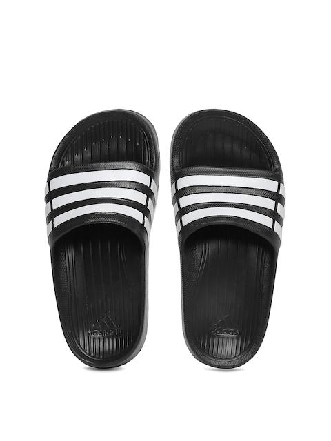 Adidas Boys Black & White Duramo Slide K Striped Flip-Flops
