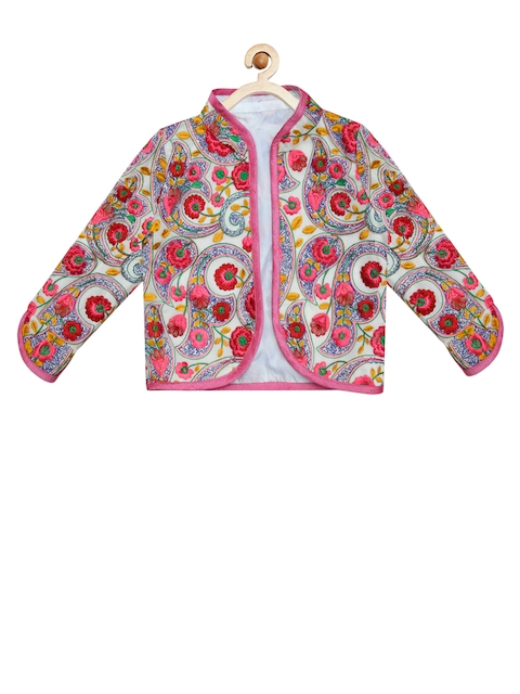 A.T.U.N All Things Uber Nice Girls Pink & Off-White Embroidered Jacket