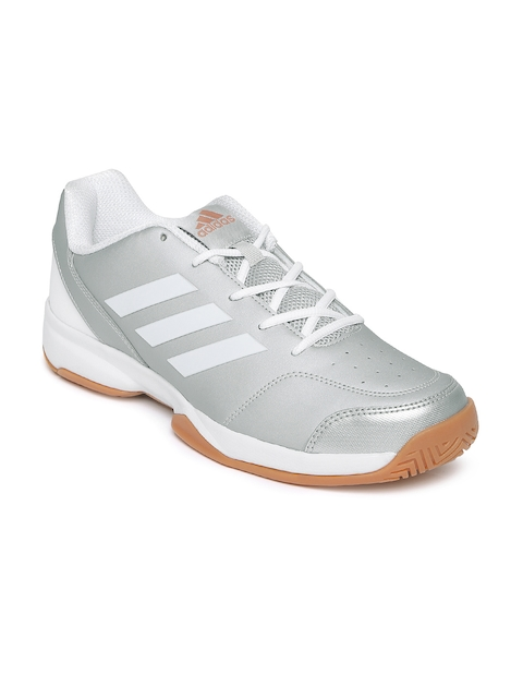 Adidas Men Silver-Toned Gumption Indoor Tennis Shoes