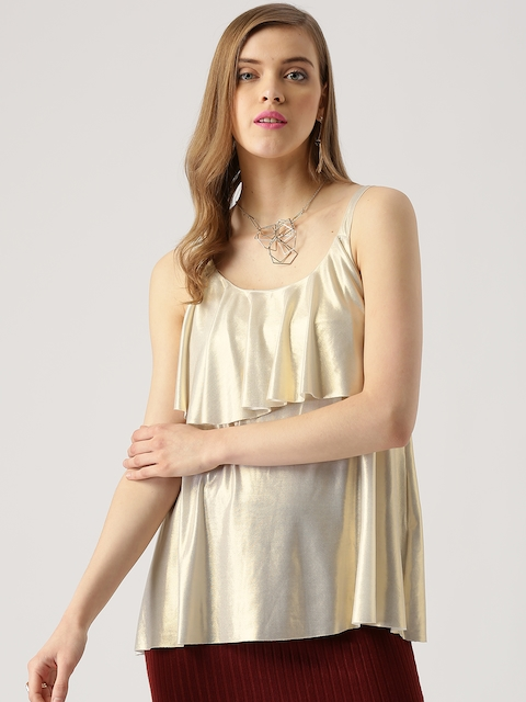 Marie Claire Women Golden Layered A-Line Top