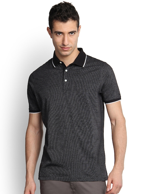Blackberrys Men Black Self-Design Slim Fit Polo T-shirt