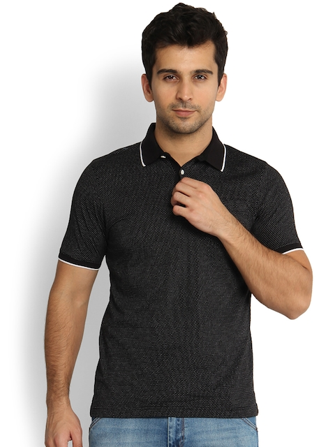 Blackberrys Men Black Solid Slim Fit Polo T-shirt