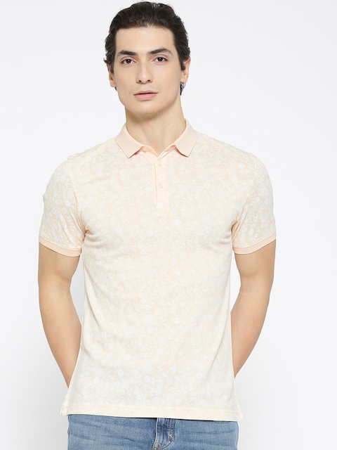 Blackberrys Men Beige & White Printed Polo Collar T-shirt