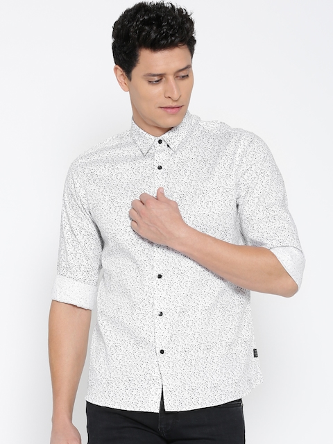 Blackberrys Men White Slim Fit Printed Casual Shirt