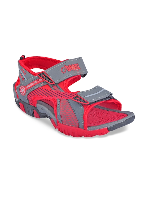 Beanz Boys Red & Grey Melange Sandals