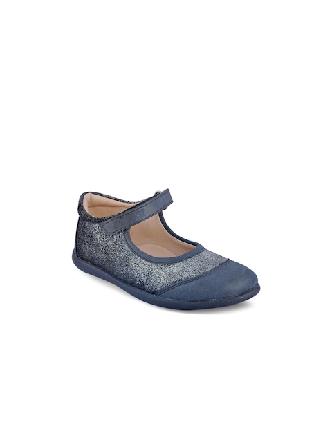 Beanz Girls Navy Blue Textured Mary Janes