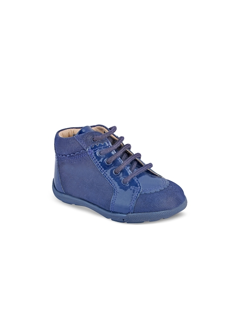 Beanz Girls Blue Solid Mid-Top Sneakers