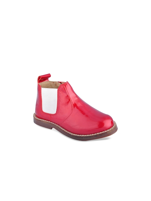 Beanz Girls Red Solid Mid-Top Flat Boots