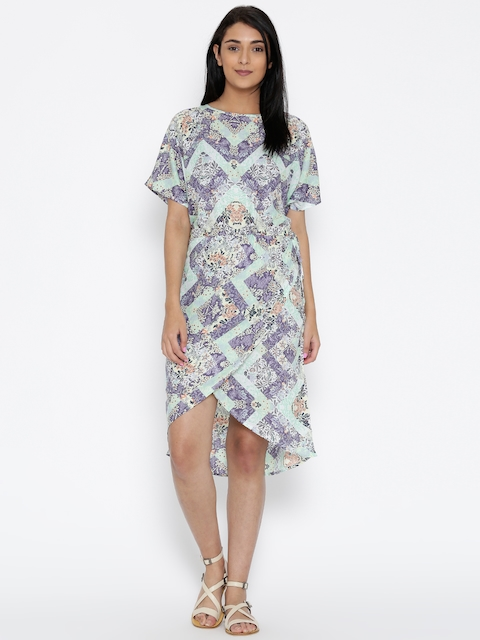 The Kaftan Company Women Green & Purple Printed Wrap Dress
