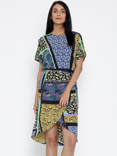 The Kaftan Company Women Blue & Yellow Printed Wrap Dress