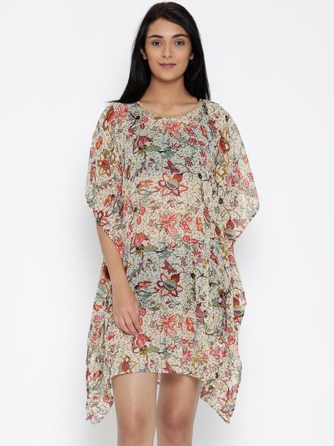The Kaftan Company Cream-Coloured Sheer Floral Print Kaftan Cover-Up Dress RW_HOLIDY014