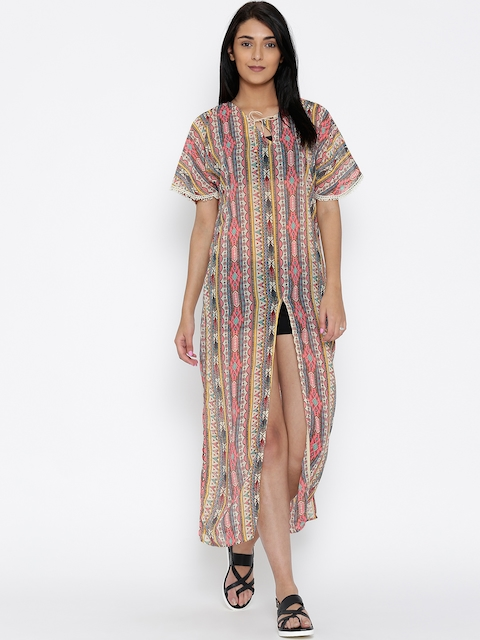 The Kaftan Company Cream-Coloured & Pink Printed Maxi Cover-Up Dress RW_KLSICMX002