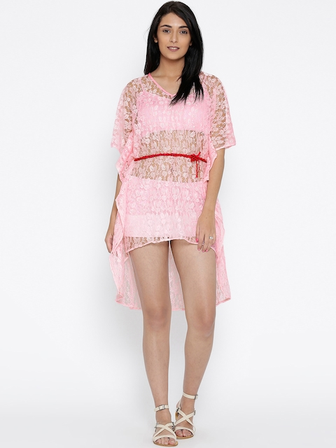 The Kaftan Company Pink Lace High-Low Kaftan Cover-Up Dress RW_LACEUP001