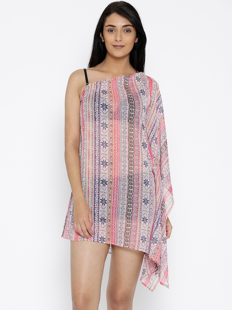 The Kaftan Company Pink & Navy Printed One Shoulder Kaftan Cover-Up Dress RW_ONESIDE002