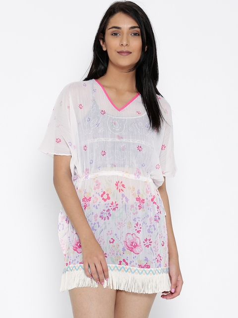 The Kaftan Company White & Pink Floral Print Fringed Kaftan Cover-Up Dress RW_TIEMEUP003