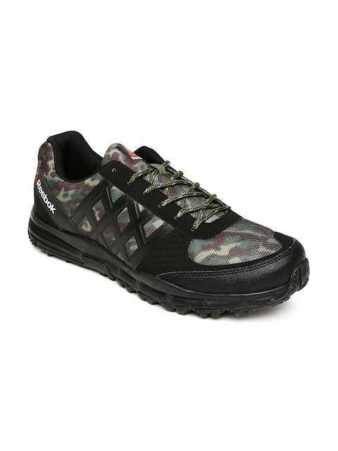 Reebok Men Black & Olive Green Camo Trek Walking Shoes