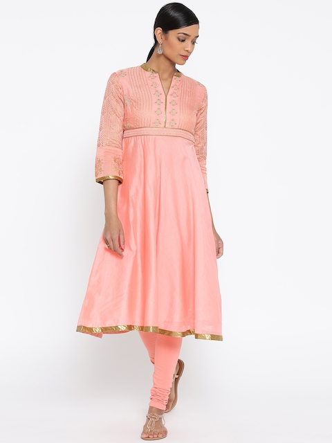Biba Women Coral Pink Embroidered Anarkali Kurta