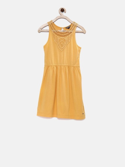 Tommy Hilfiger Girls Mustard Solid Fit and Flare Dress