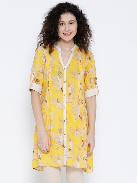 Shree Women Yellow Floral Print A-Line Kurta  available at myntra for Rs.359