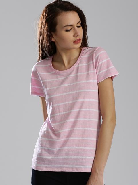 Levis Women Pink & White Striped Round Neck T-Shirt
