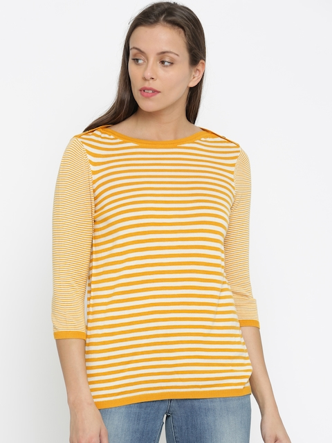 Levis Women Yellow Striped T-shirt