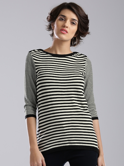 Levis Women Black & Off-White Striped Top