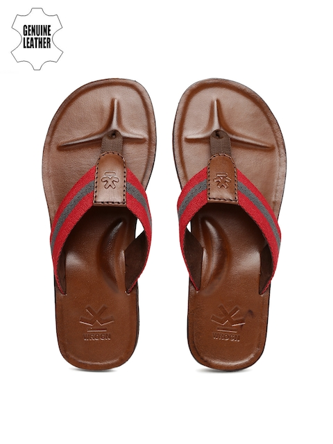 WROGN Men Red & Grey Striped Sandals