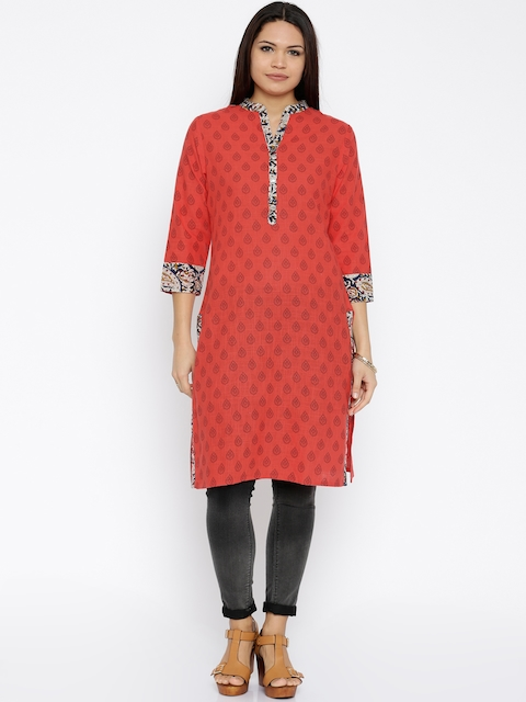 Soch Women Coral Red Printed Straight Kurta