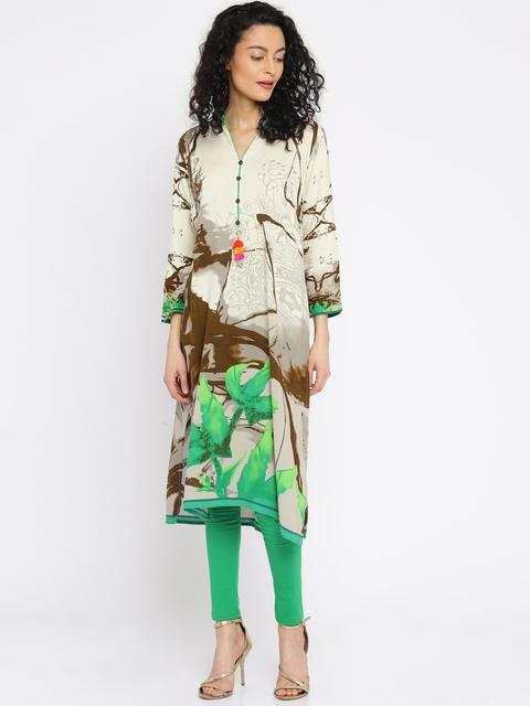 Soch Women Cream-Coloured Printed Straight Kurta