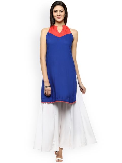 Avaana Women Blue Solid Straight Kurta