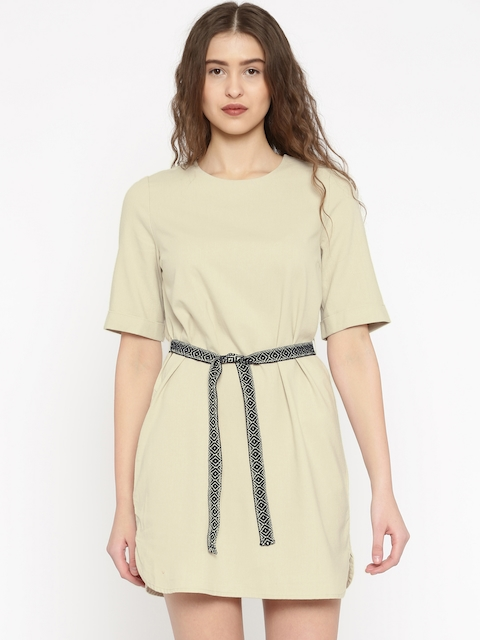 Vero Moda Women Beige Solid A-Line Dress