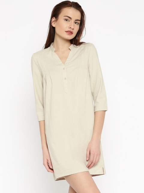 Vero Moda Women Beige Shirt Dress