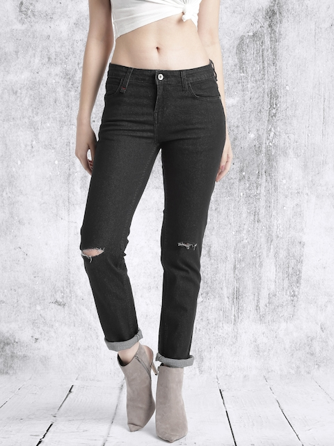 Roadster Women Black Skinny Slash Knee Stretchable Jeans